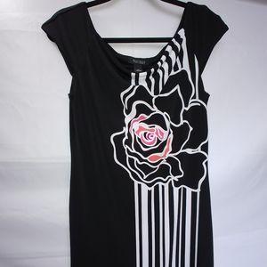 White House black market black sheath rose dress M